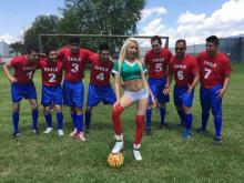 Imagen Mexicana folla con un equipo de fútbol